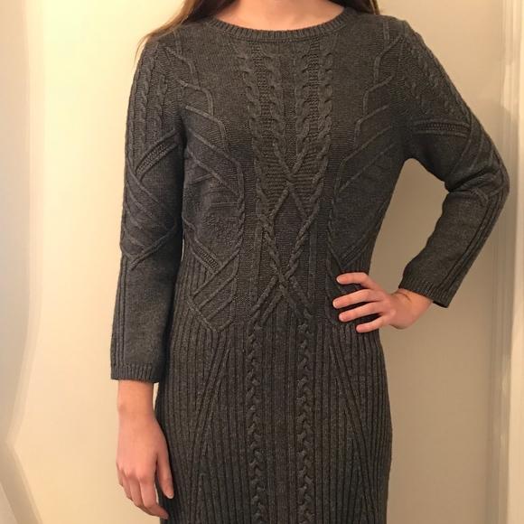 f230dfc706e Ann Taylor Loft Gray Cable Knit Sweater Dress